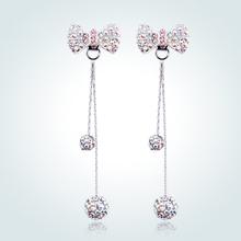 Warme Farben Real 925 Silver Drop Long Earrings Crystal  for Women Zircon Ball Ethnic Anniversary Gifts