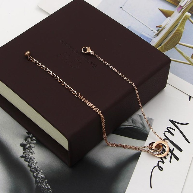 Модный красивый браслет на ногу цвета розового золота двойная