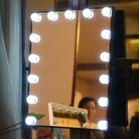 Голливуд Super Star Стиль светодиодный избежать ногтей стены тщеславие Макияж зеркало с подсветкой из белого и желтого цвета огни замены сенсор...