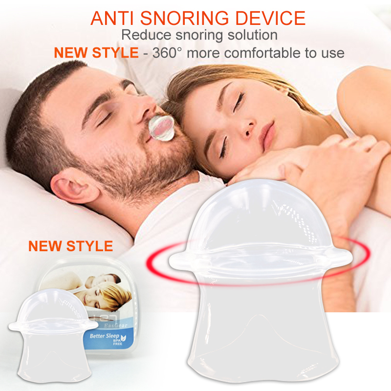 2018 New style Silicone Anti Snoring Tongue Retaining Device Snore Solution Sleep Breathing Apnea Night Guard Aid Stop Sleeve