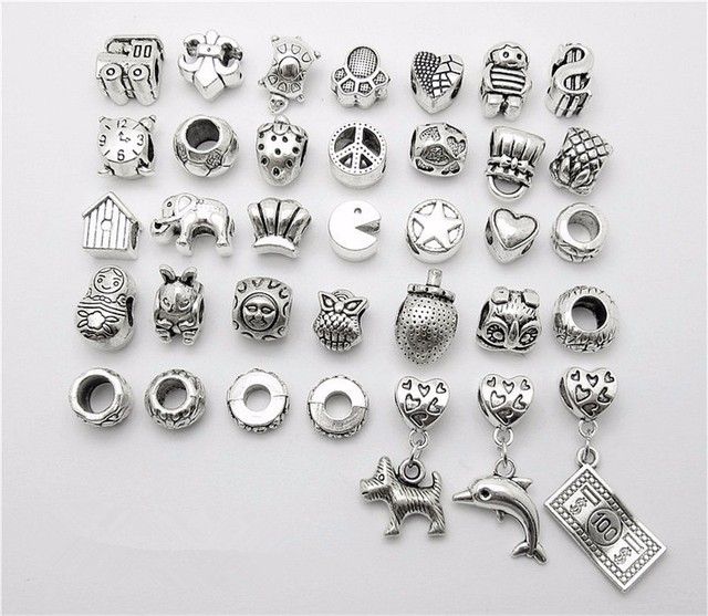 a1d885cfb2a8 US $5.66 18% OFF|Mix 35pcs Dog dolphin Dollar Beads Pendant European Bead  Fits Pandora Charms Bracelets & pendants diy Jewelry-in Beads from Jewelry  & ...
