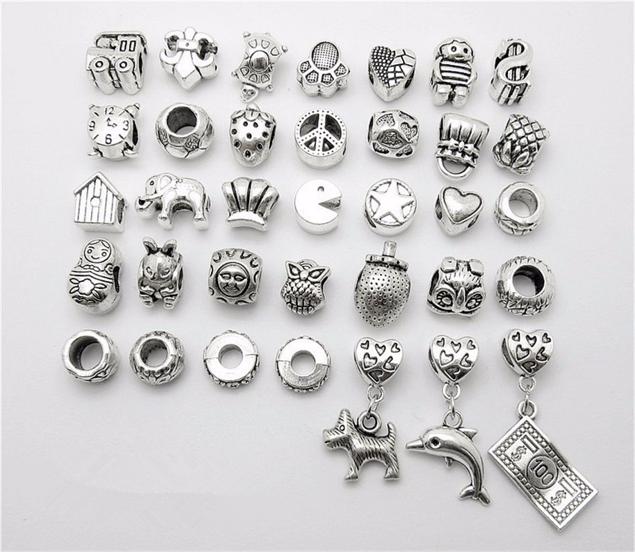 Mix 35pcs Dog dolphin Dollar Beads Pendant European Bead Fits Pandora Charms Bracelets & pendants diy Jewelry