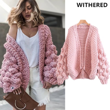 Withered 2017autumn winter season jacket women blogger's favorite lantern handwork thick knitting bomber jacket cardidgan women