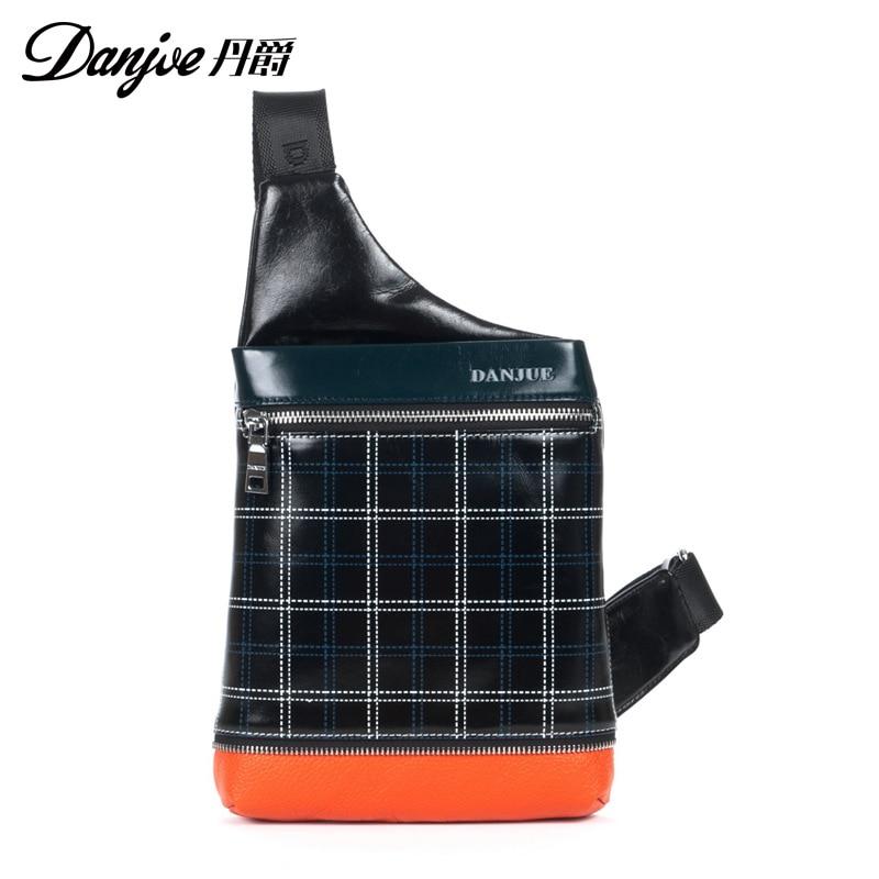 DANJUE New Designer 2018 hot sale Genuine Leather Shoulder Bags For Men Real Cowhide Mini Messenger Bag Crossbody Bags Busines