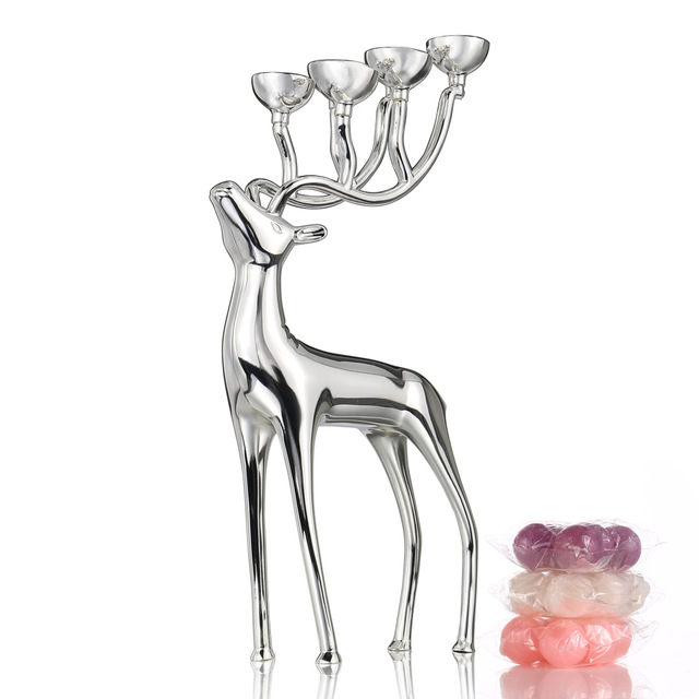 Tooarts Candle Holders Silver Deer Candlestick Metal Home Decor Candle Stand Christmas decorations for home new year gift