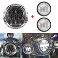 "7"" Inch 75w Harley Daymaker LED Headlight+ 2x 4.5"" 30w Fog Light Passing Lamps for Harley Davidson Motorcycle"