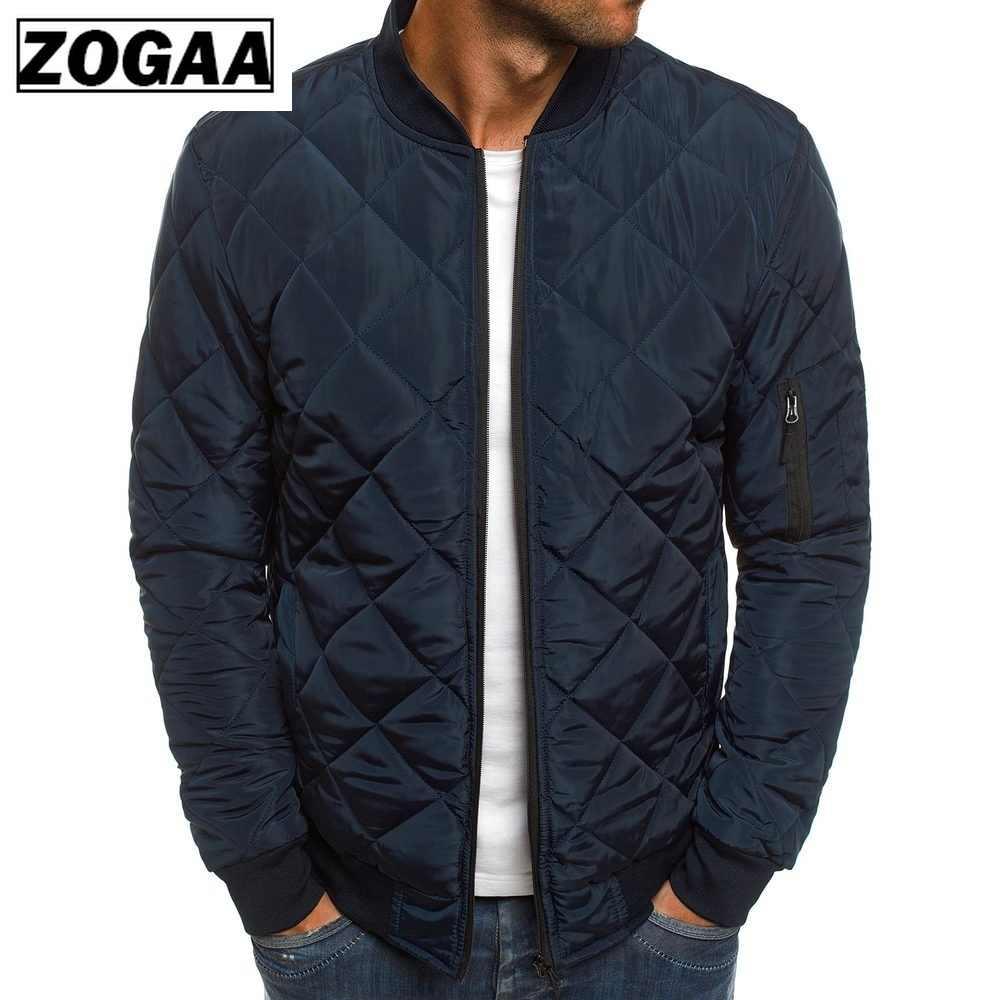 ZOGAA hombres otoño Casual Plaid Parkas chaqueta rompevientos Color sólido marca Overcoat ropa de invierno chaquetas con cremallera