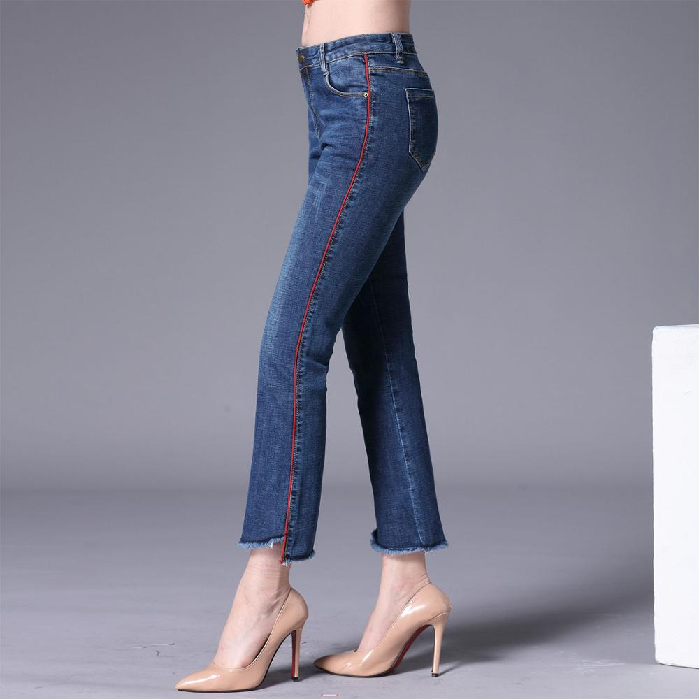 Summer new European and American white, patch micro la jeans, women's white trim, slim and shaped nine point flared pants