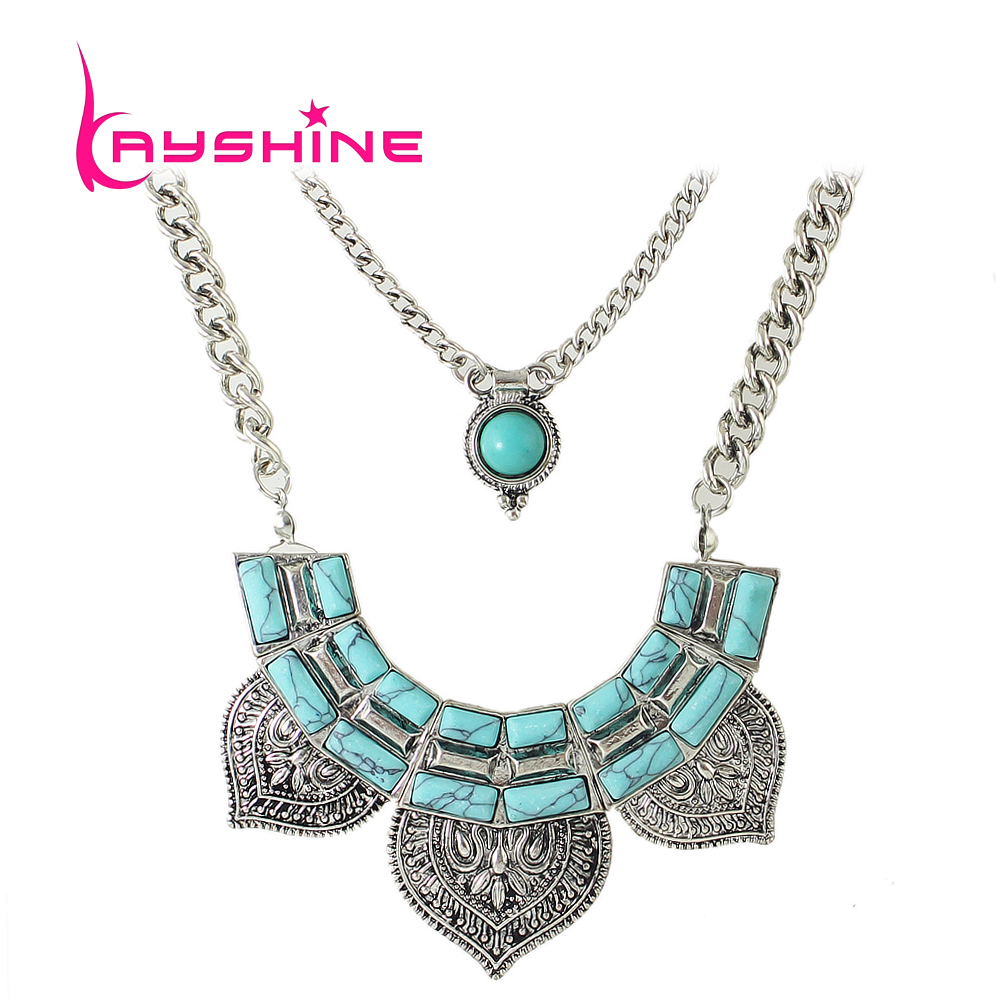 Ethnic Style Maxi Necklace Antique Silver Color Multilayer ...