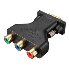 3 RCA Fêmea Para Adaptador de Conector de Vídeo Componente VGA Hd15 Pinos de Vídeo RGB