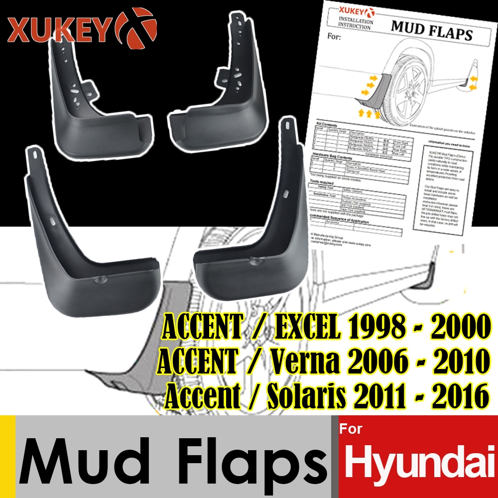 Mud Flaps For For Hyundai Accent Excel 1998 - 2000 Accent 2006 ~ 2010 Solaris 2011 ~ 2016 Mudflaps Splash Guards Mudguards 2015