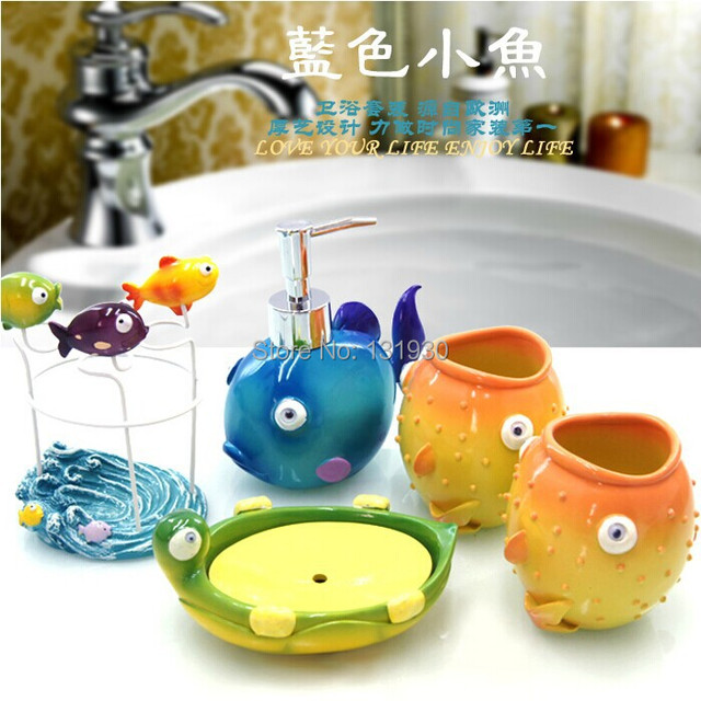 Free Shipping Children S Series Cartoon Bathroom Set 5 Pieces Resin Wash Accessories Fish