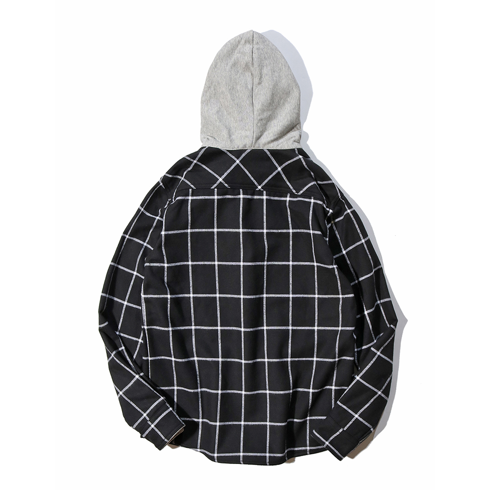 Japanese Tie Hooded Lattice Shirts Trend Men s Plus Velvet Contrast Color  Long sleeved Plaid Shirt Youth Fashion Clothes-in Casual Shirts from Men s  ... 69e4edfc9fa9