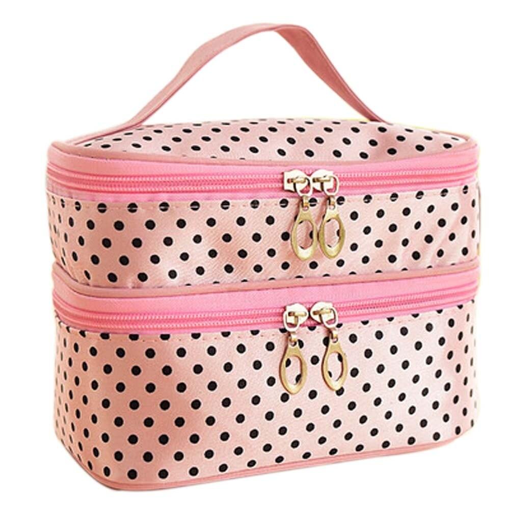 New Fashion Double-deck Travel Toiletry Beauty Cosmetic Bag Makeup Case Organizer Zipper Holder Handbag -OPK