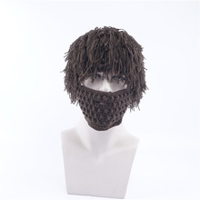 Wig male and female mustache hat handmade knit creative funny wool autumn winter