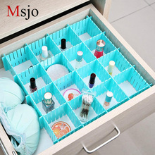 Msjo Drawer Organizer 4 Pcs / Set Home Closet Organizer Untuk Pakaian Bra Sock Plastic Adjustable Drawer Board Storage Boxes