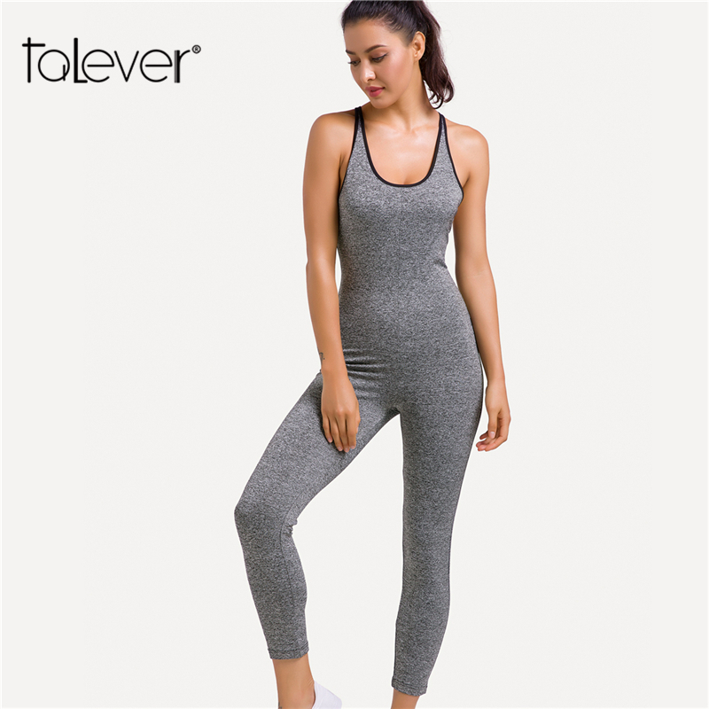 2018 Fashion Brand New Ladies Playsuit Clothes Backless Bandage Jumpsuit Gray Plus Size Sportswear Jumpsuits Plus Szie Talever