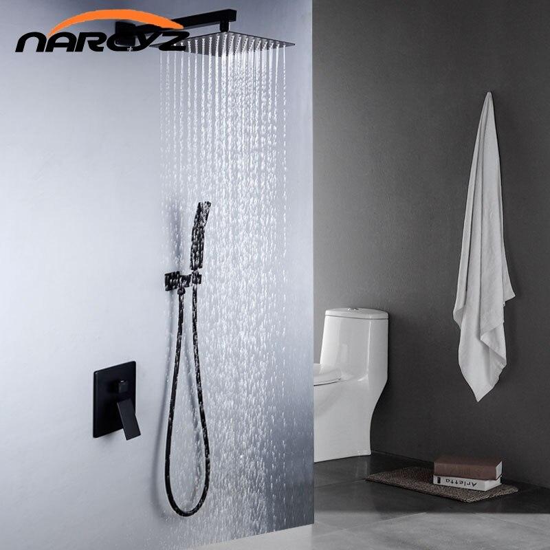 Bathroom shower set 8 10 12 inch Top spray Square Concealed Matte Black shower set Ceiling