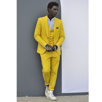 Fashion new men's suit yellow lapel single-breasted men's ball gown and groom wedding dress (jacket + pants + vest) custom made