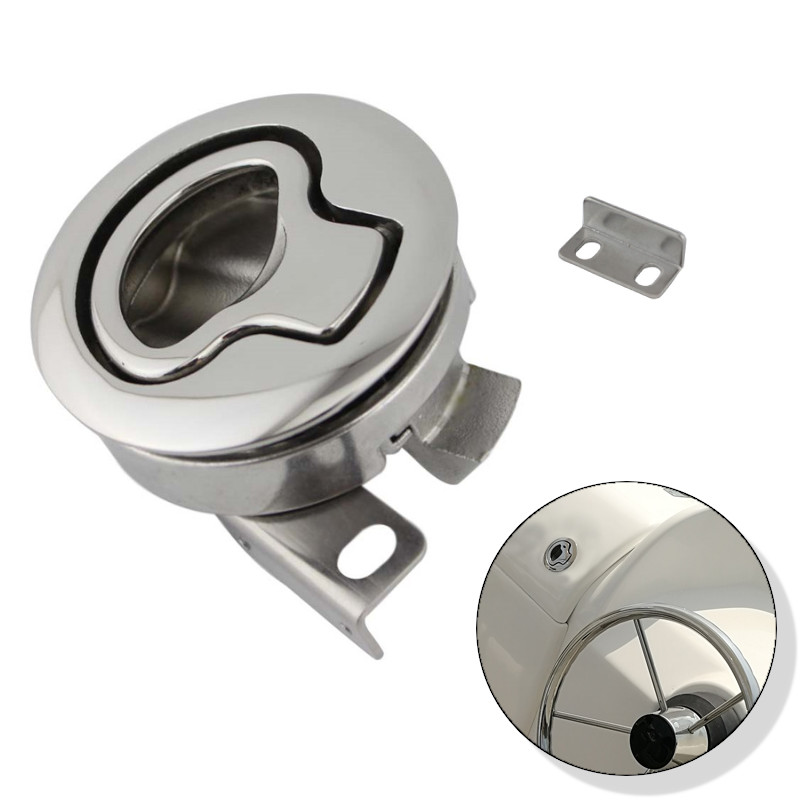 Stainless Steel Flush Boat Marine Latch Flush Pull Latches Slam Lift Handle Deck Hatch For Yacht Marine Hardware Without Key