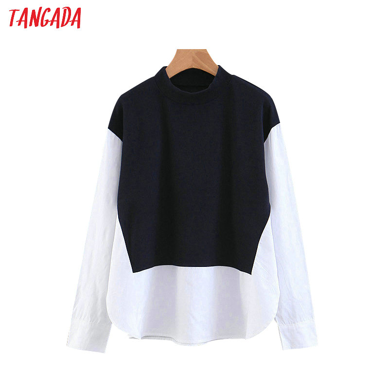 Tangada Women Patchwork White Sweatshirts Long Sleeve Korea Style Pullovers Fashion Ladies Casual Designer Tops SL78