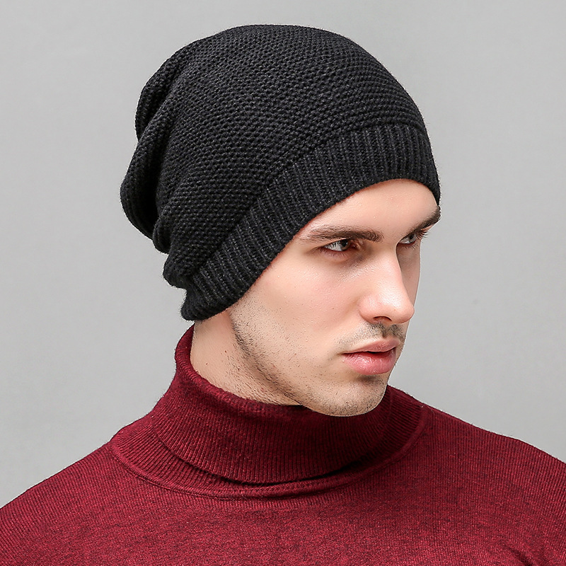 2017 Heat Sell Autumn Beanie Winter Hat Men Solid Color Stripe Head Cap Outdoors Keep Warm Knitting Hat Earmuffs Black Caps gift children knitting wool hat cute keep warm rabbit beanie cap autumn and winter hat with earflaps whcn