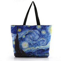 Polyester Fiber Artistic Youth Handbags Printed Zipper Environmental Protection Shopping Bags Recyclable Casual Beach Bag Tote