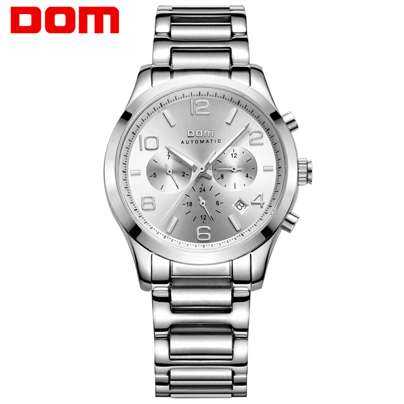 DOM mens watches top brand luxury waterproof mechanical man Business man reloj hombre marca de lujo Men watch M-812D-7M mens watches top brand luxury 2017 aviator white automatic mechanical date day leather wrist watch business reloj hombre