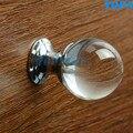 Pequena alça bola de cristal moderna minimalista rodada único furo cozinha mobiliário porta do armário puxador de gaveta maçaneta da porta do armário