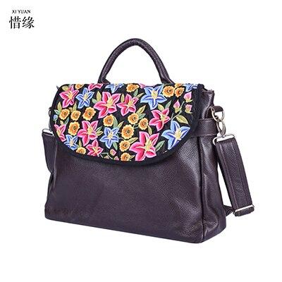 125e542c307fb 2017 Ethnic Embroidery Tote Handbag Fashion Handmade Flower Embroidered  Small flap Bag Women black leather Shopper Bolsos brown