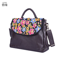 2017 Ethnic Embroidery Tote Handbag Fashion Handmade Flower Embroidered Small flap Bag Women black leather Shopper Bolsos brown