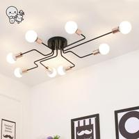 Big Black Iron Ceiling Light Fixture Modern Nordic Scandinavian Hanging Lamp Plafon Lustre for Foyer Living Room Bedroom E27 E26