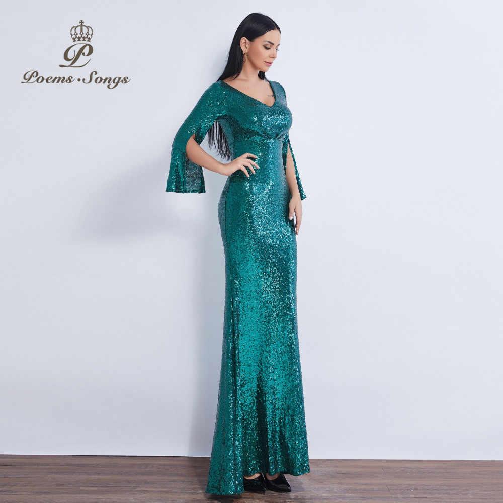 Poems Songs New Sequin V Neck Attractive Mermaid Evening Dress Reflective Vestidos Largos Beautiful Robe Longue Soiree Evening Dresses Aliexpress