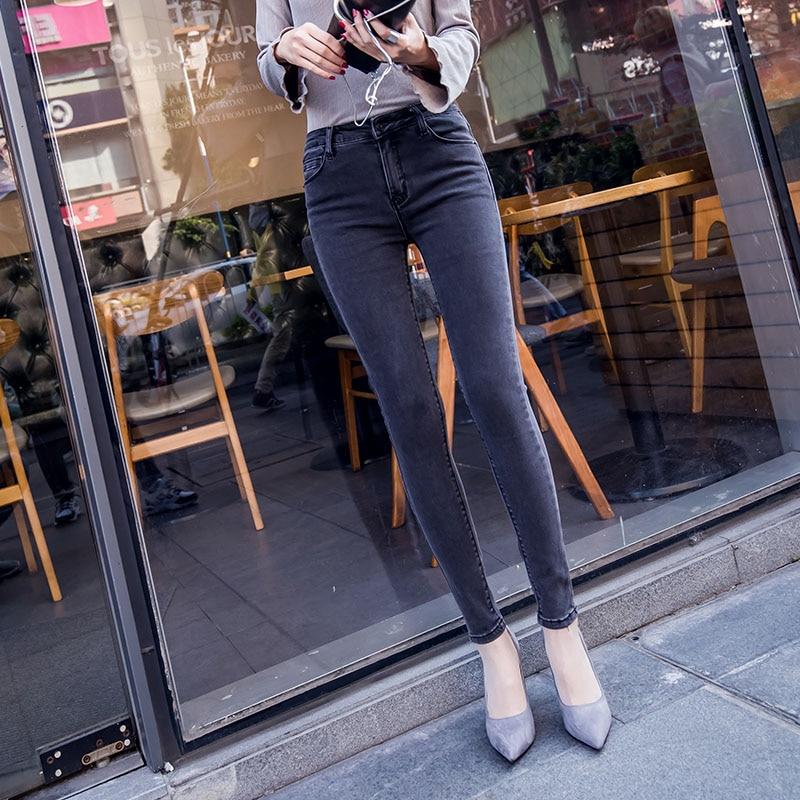 Women Slim Gray Stretch Jeans Woman High Waist Elasticity Pencil Denim Pants Plus Size 26-31 L933 2017 new jeans women spring pants high waist thin slim elastic waist pencil pants fashion denim trousers 3 color plus size