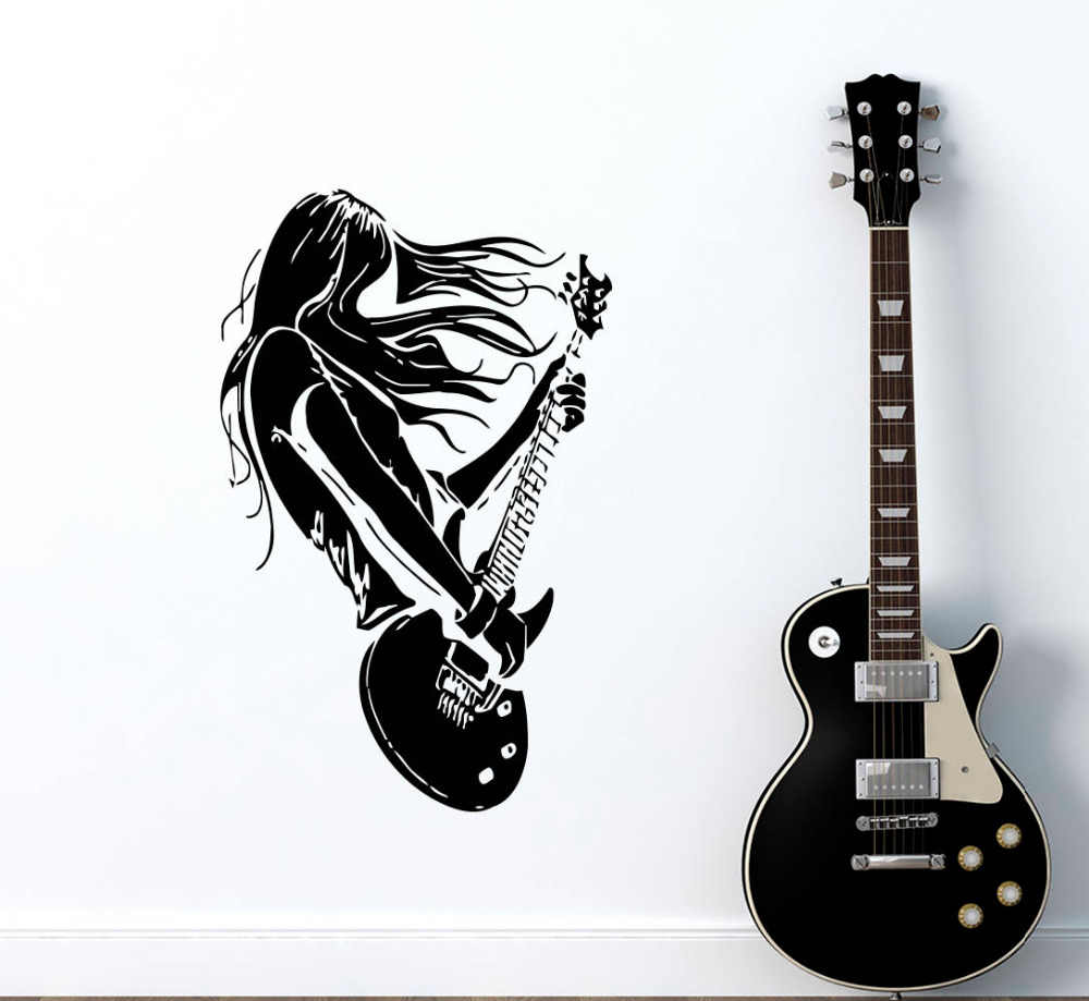Rock star guitar music wall decals living room decoration vinyl art stickers interior home wall decor