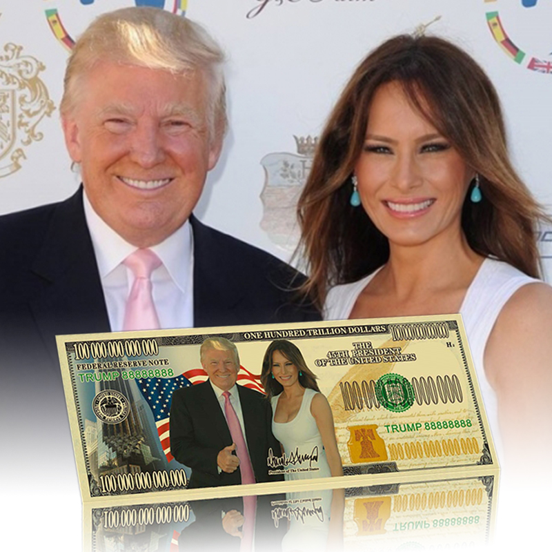 Billete de oro de 24k Donald Trump y la primera dama Melania Metal dorado plateado papel dinero para regalos de Navidad y colección