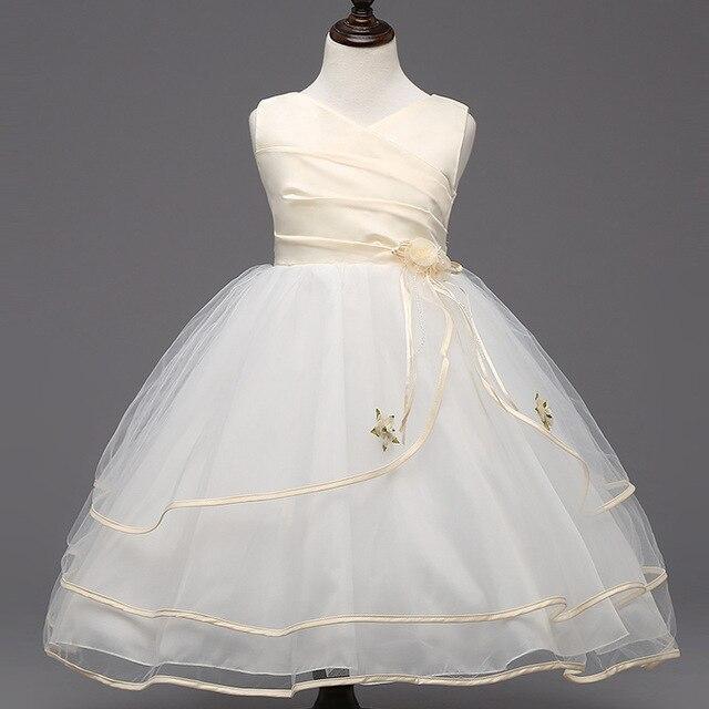2016 Летние девушки V-образным Вырезом цветы Принцесса чистой пряжи девушки цветка платье девушки цветка бальное платье платье для девочки одежда