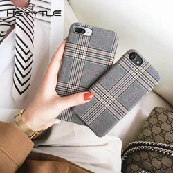 Heyytle Cloth Grid Phone Case For Apple iPhone X 8 7 6S 6 Plus Lattice Cute Fashion Soft Back Cover Cases For iPhone 10