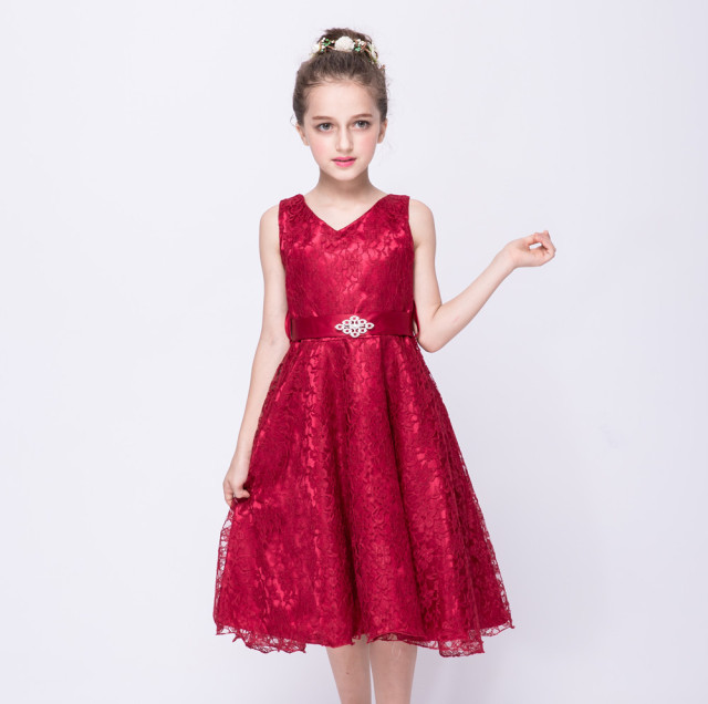 e883328e345 2017 new Children  s Dress red girl  s lace dress summer new big children