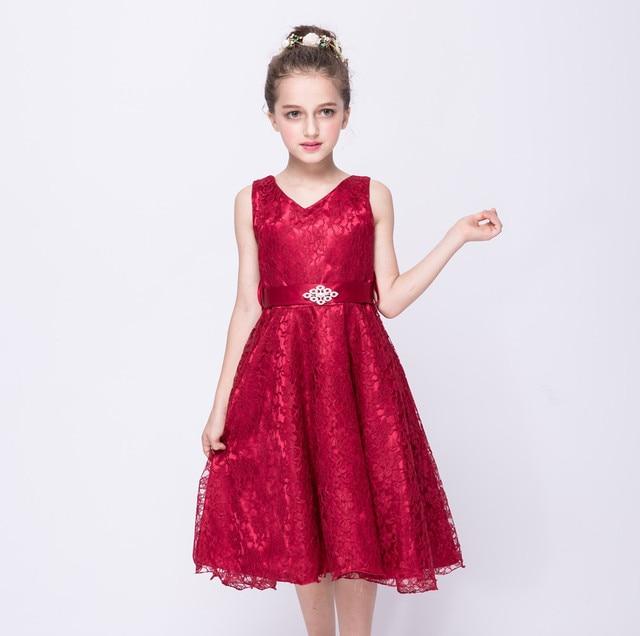 2017 new Children  s Dress red girl  s lace dress summer new big children 3e0a9c934eae