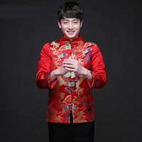 Traditional Chinese Clothing Tops Dragon Men 's Dress Groom Men Cheongsam Tang Suit Wedding Jacket Vintage Jacket Red
