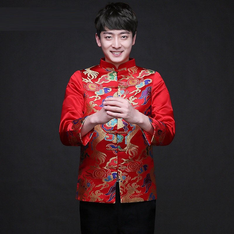 Vêtements chinois traditionnels hauts Dragon hommes robe marié hommes Cheongsam Tang costume de mariage veste Vintage veste rouge