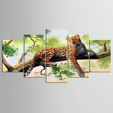 Hot Selling 5 Piece Set Home Decorative The Beauty Just Like Flower leopard Silence On Green Tree For Living Room