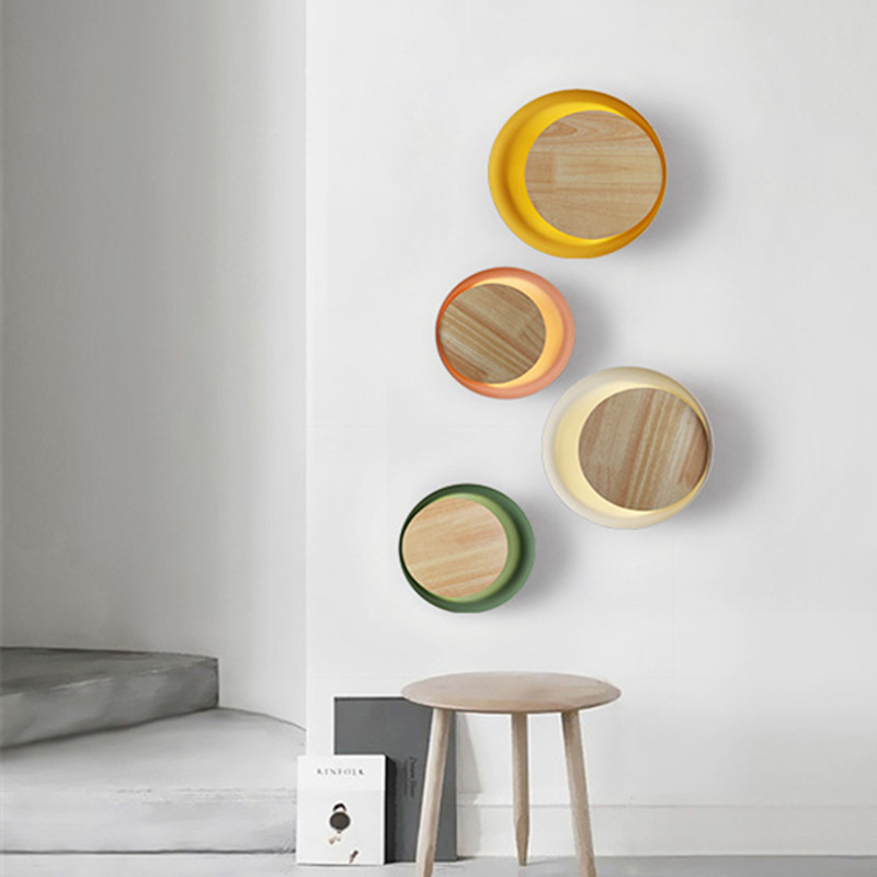 <font><b>Nordic</b></font> Macaroon <font><b>Wood</b></font> Bedside Led <font><b>Wall</b></font> <font><b>Lamp</b></font> Art Concise Eclipse Dinner Cafe Corridor Hotel <font><b>Wall</b></font> Light Fixtures Free Shipping image
