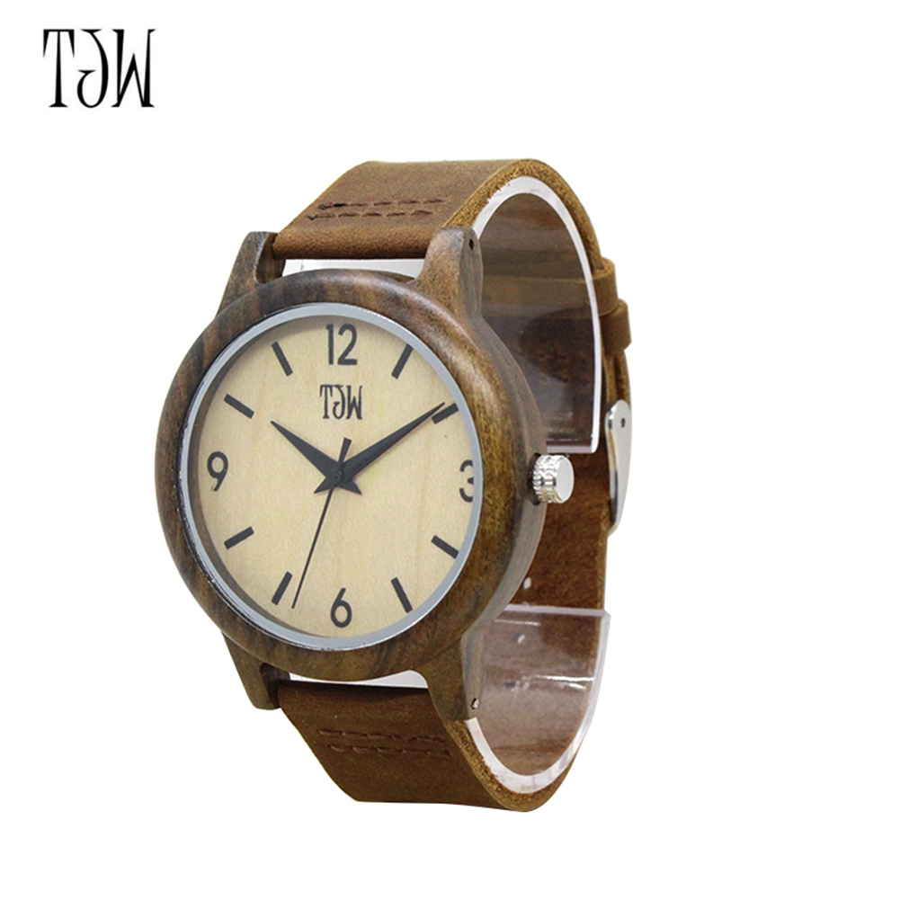 Fashion Wood Bamboo Wrist Watch Genuine Leather Bracelet Quartz Watch Men Women Clock Gifts TT@88 casual nature wood bamboo genuine leather band strap wrist watch men women cool analog bracelet gift relojes de pulsera