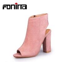 FONIRRA Women Ankle Boots Peep Toe High Heels Boots Sexy Party Platform Pumps Sandals Bootie Plus