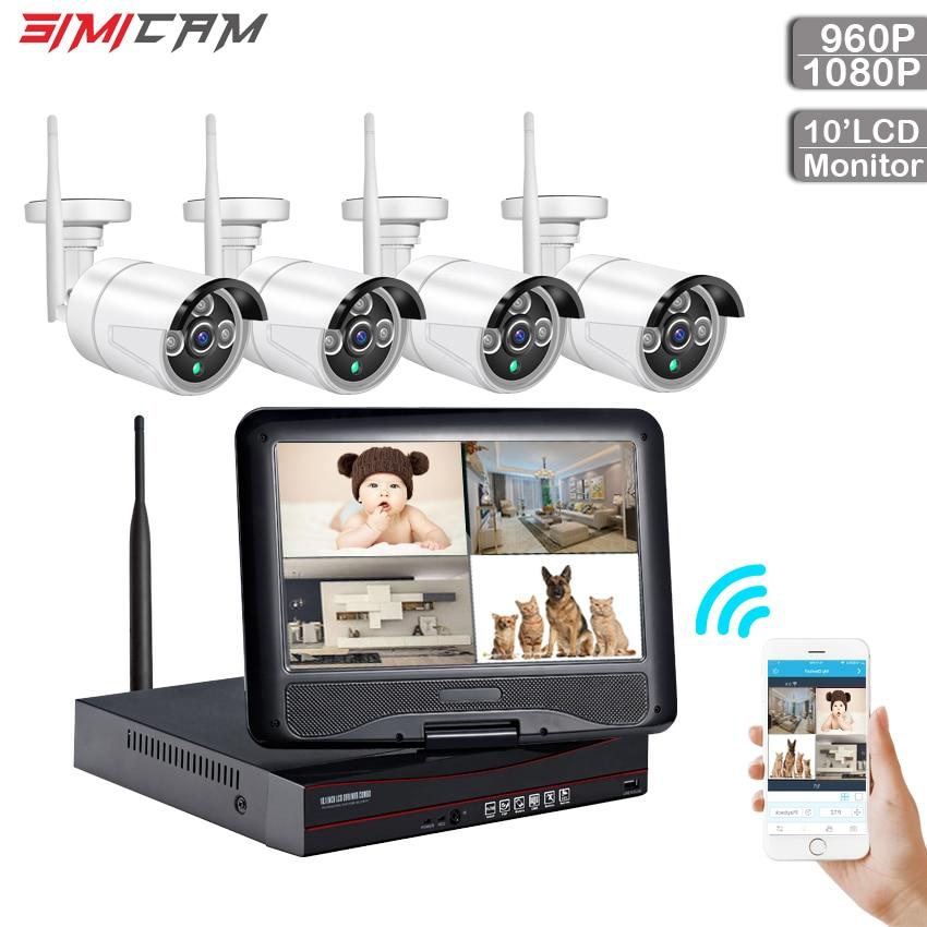 wireless security camera system kit wireless cctv wifi kit video surveillance 4ch 960p/1080p ip camera ir-cut 10 inch lcd NVR