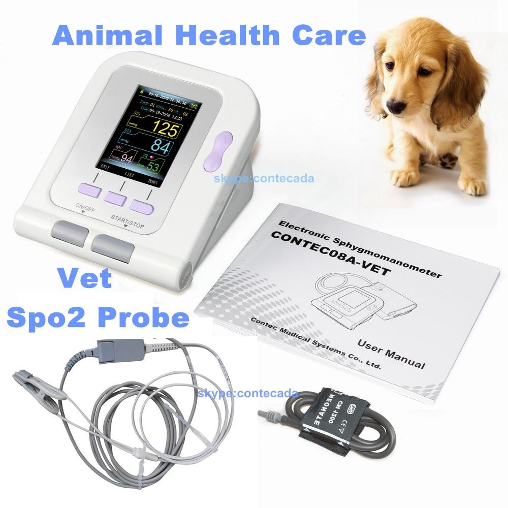 CONTEC08A VETERINARIO Gatto/Cane/Animale/Vet Monitor Automatico di Pressione Sanguigna Elettronico Sfigmomanometro Tonometro SPO2 Lingua Sonda PC