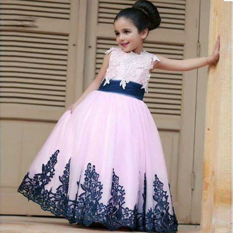 Hot Sale Lovely Flower Girl Dresses Appliques Ball Gown First Communion Dresses For Girls Cheap Pageant Gowns Custom Vestidos 2017 best selling custom first communion dresses for girls ball gown white lace with bow flower girl dresses kids pageant gowns