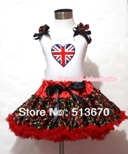 Hot Red Black Cherry Pettiskirt with Patriotic Britain Heart Bkack Cherry Ruffles and Black Bow White Tank Top MAMM241 white pettiskirt with patriotic america heart white ruffles